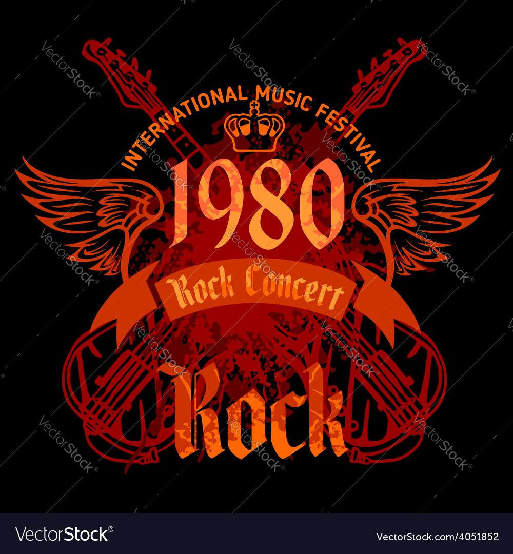 Rock concert poster  1980s vector