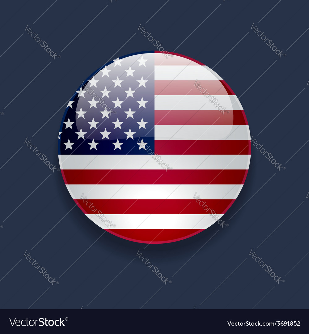 Round icon with flag of the usa vector | Price: 1 Credit (USD $1)