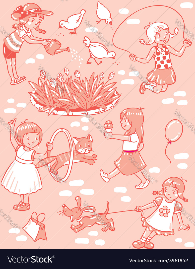 Seamless pattern with playing girls vector | Price: 1 Credit (USD $1)