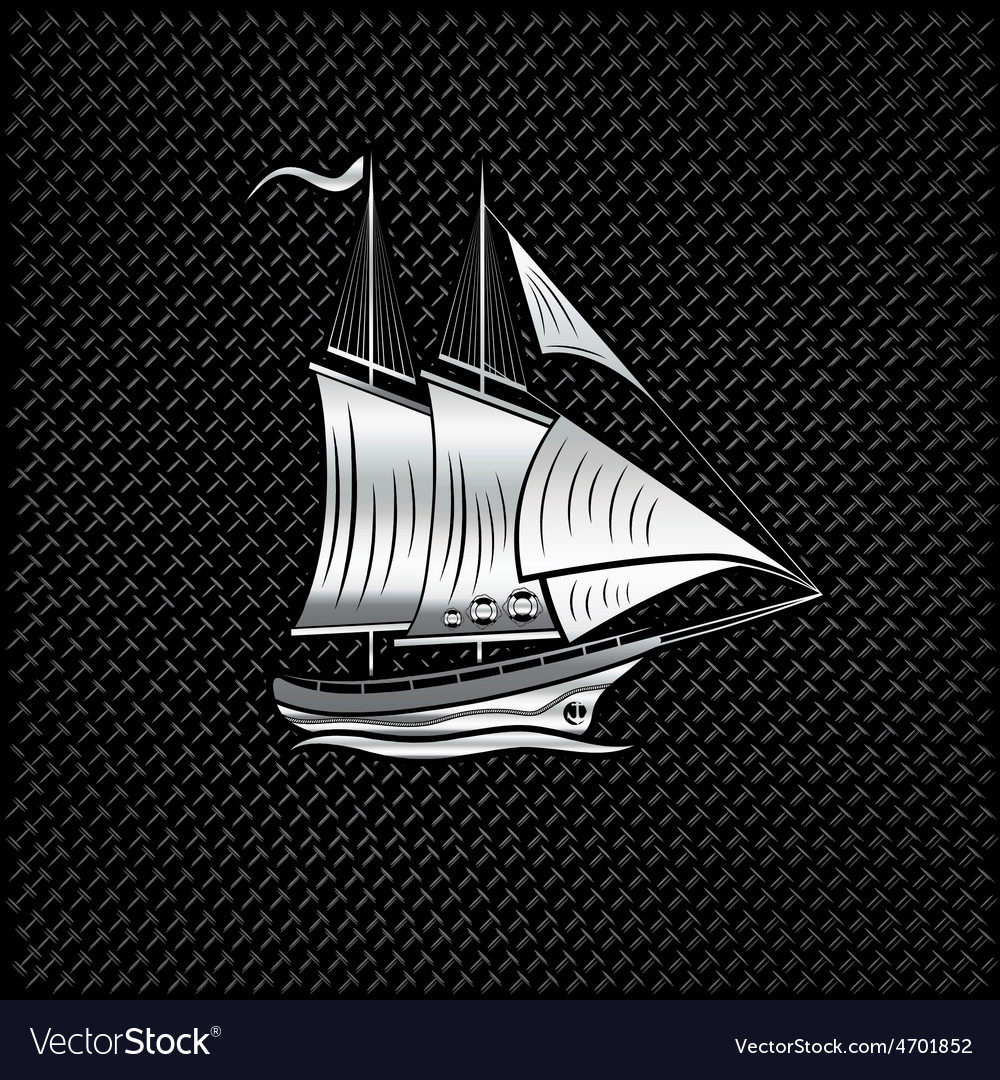 Silver sailing ship on metal background vector | Price: 1 Credit (USD $1)