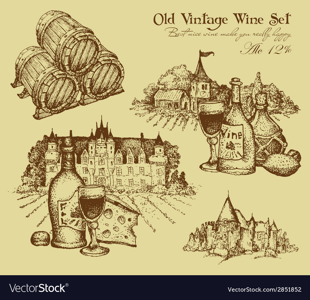 Vintage wine set vector | Price: 1 Credit (USD $1)