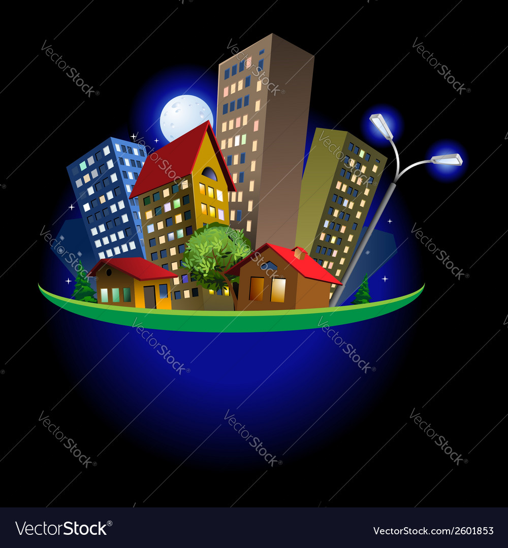 Abstract city at night vector | Price: 1 Credit (USD $1)