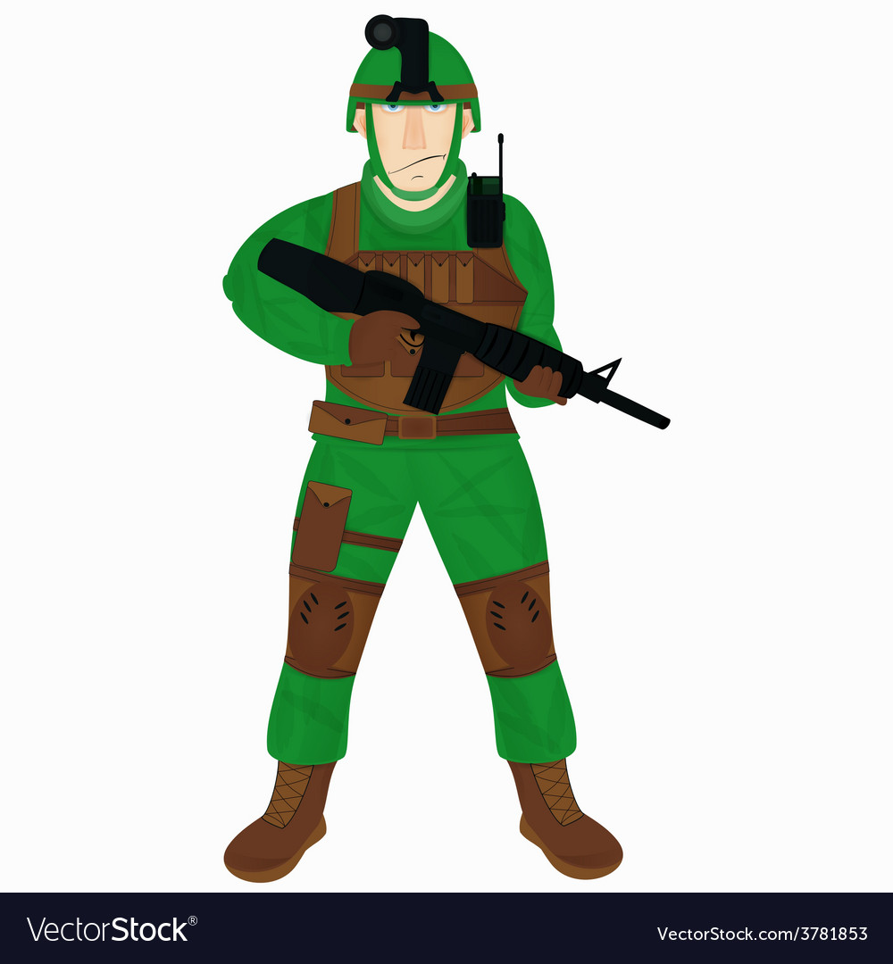 Cartoon modern soldier vector | Price: 1 Credit (USD $1)