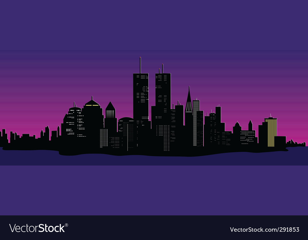 Cityscape at night vector | Price: 1 Credit (USD $1)
