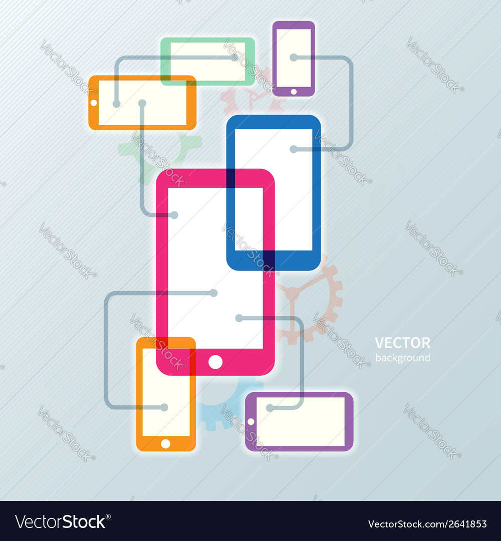 Colorful cellphone smartphone and gear icon vector | Price: 1 Credit (USD $1)