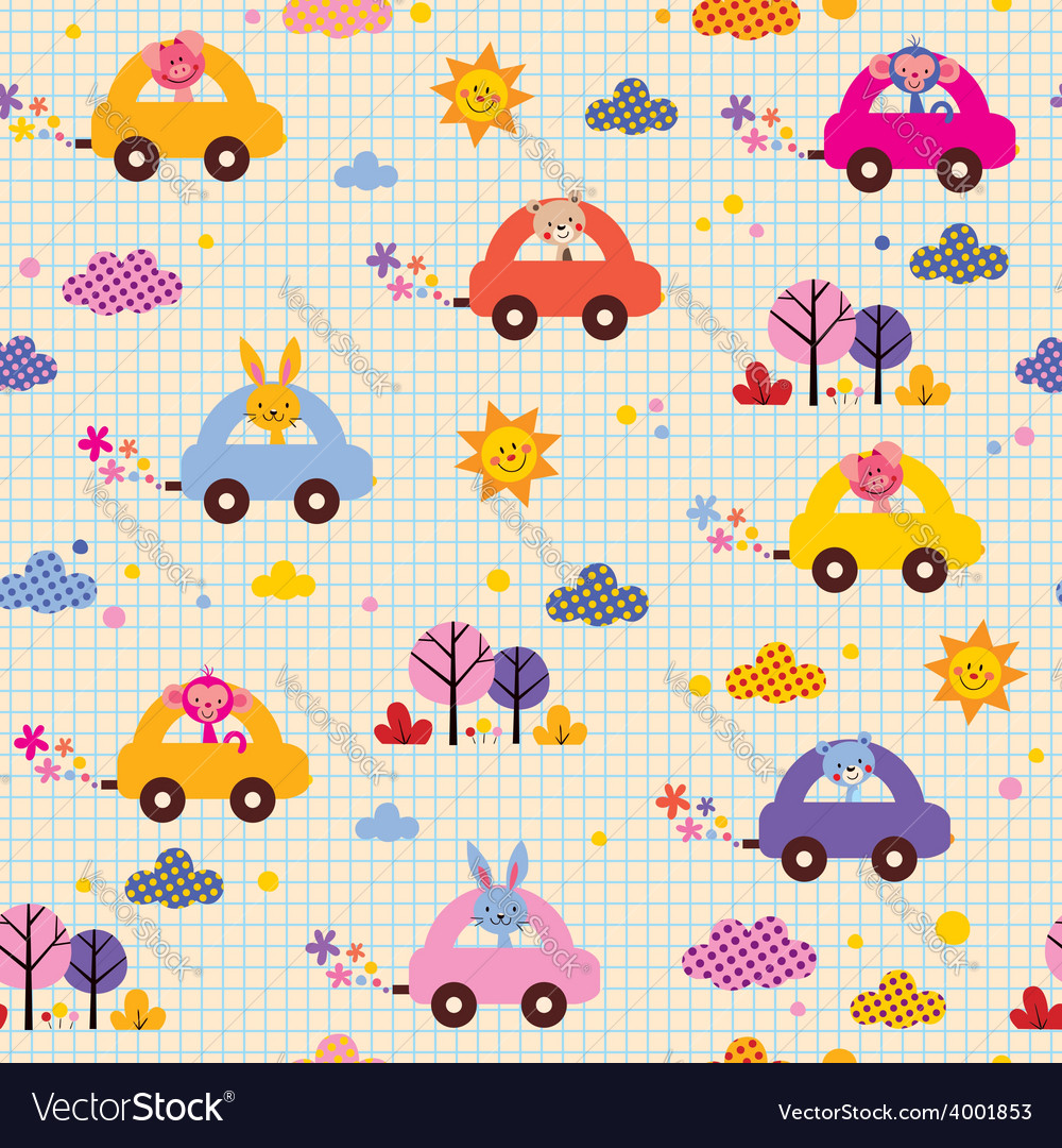 Cute animals driving cars note book paper kids vector | Price: 1 Credit (USD $1)