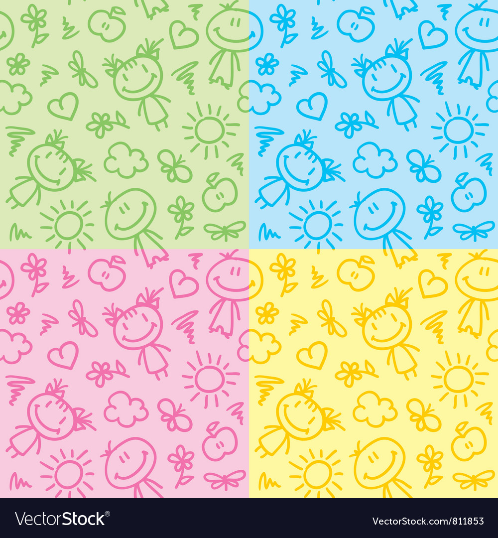 Hand drawn kid patterns vector | Price: 1 Credit (USD $1)