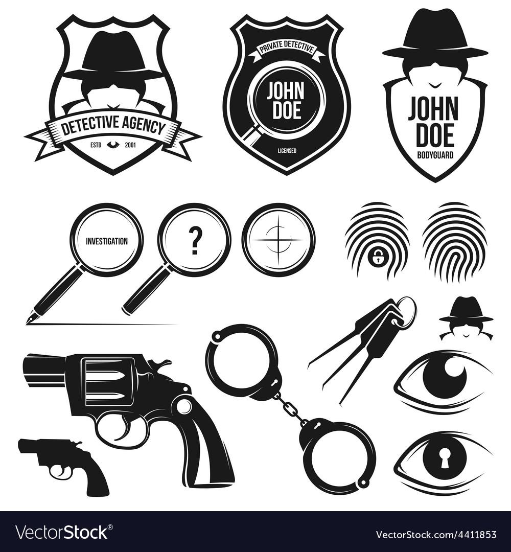 Private detective set vector | Price: 1 Credit (USD $1)