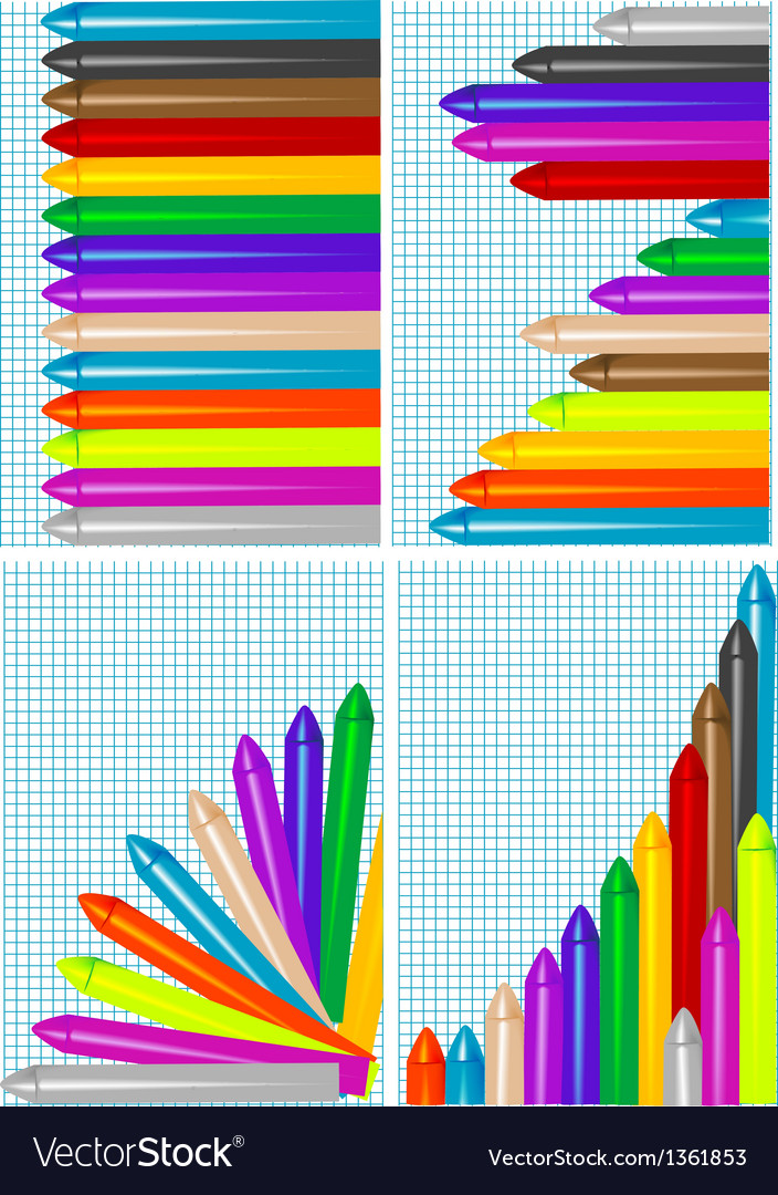 Set of backgrounds with crayons vector   Price: 1 Credit (USD $1)
