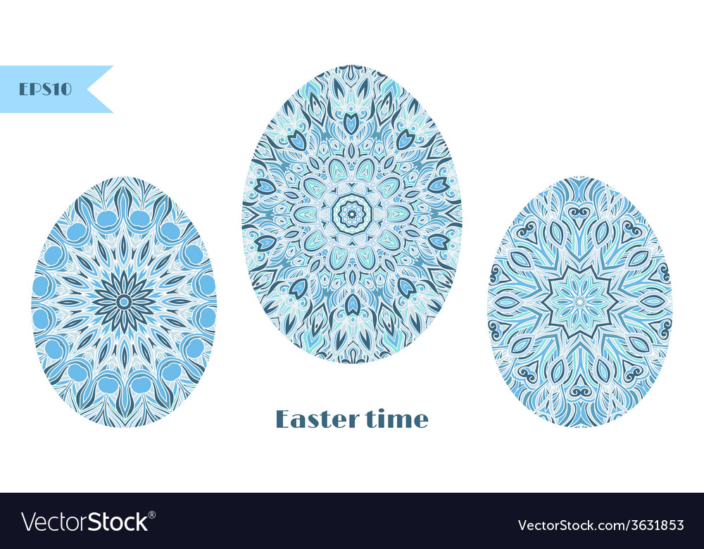 Set of easter eggs decorated with ornament vector | Price: 1 Credit (USD $1)