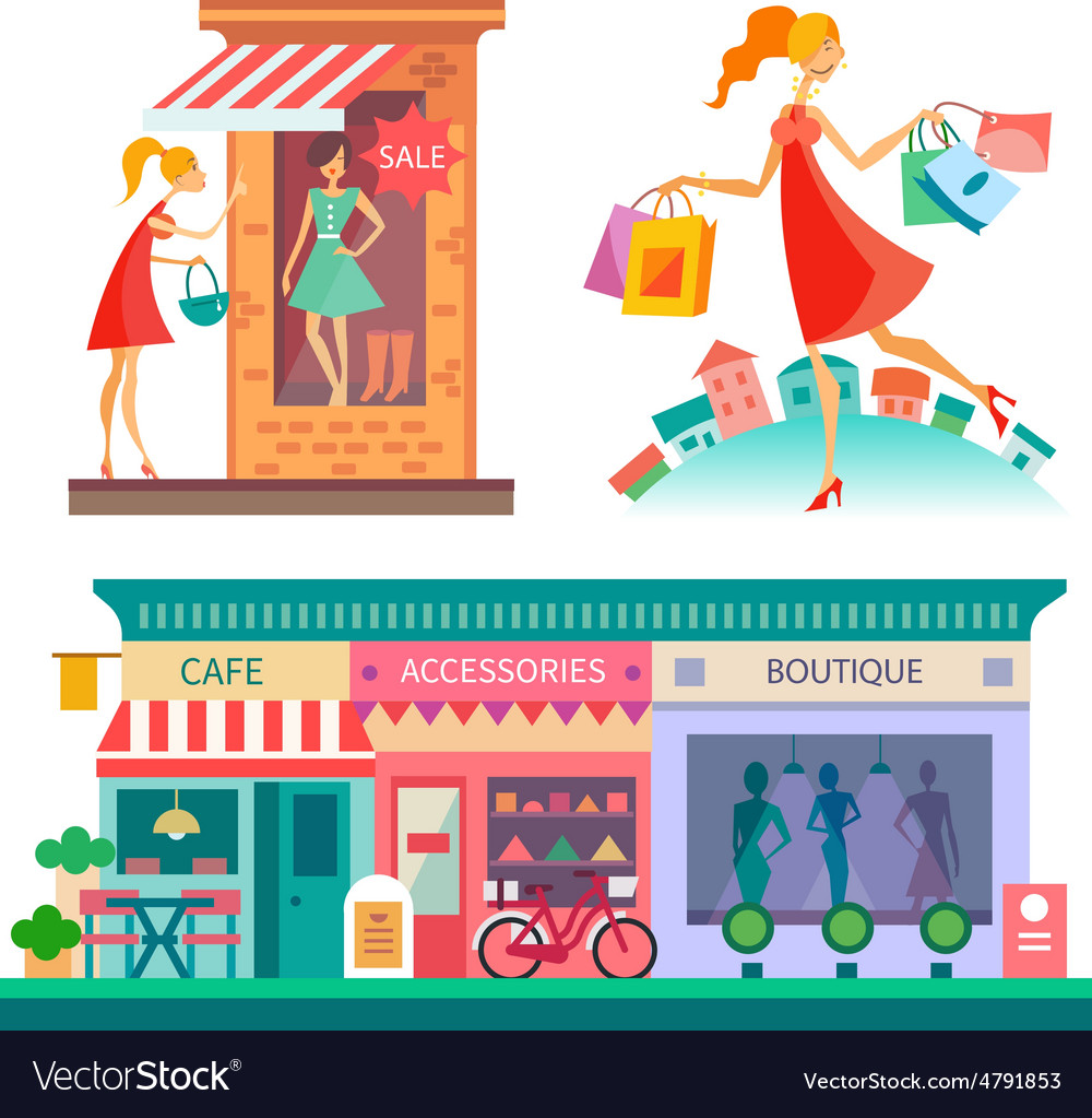 Shopping center vector | Price: 3 Credit (USD $3)