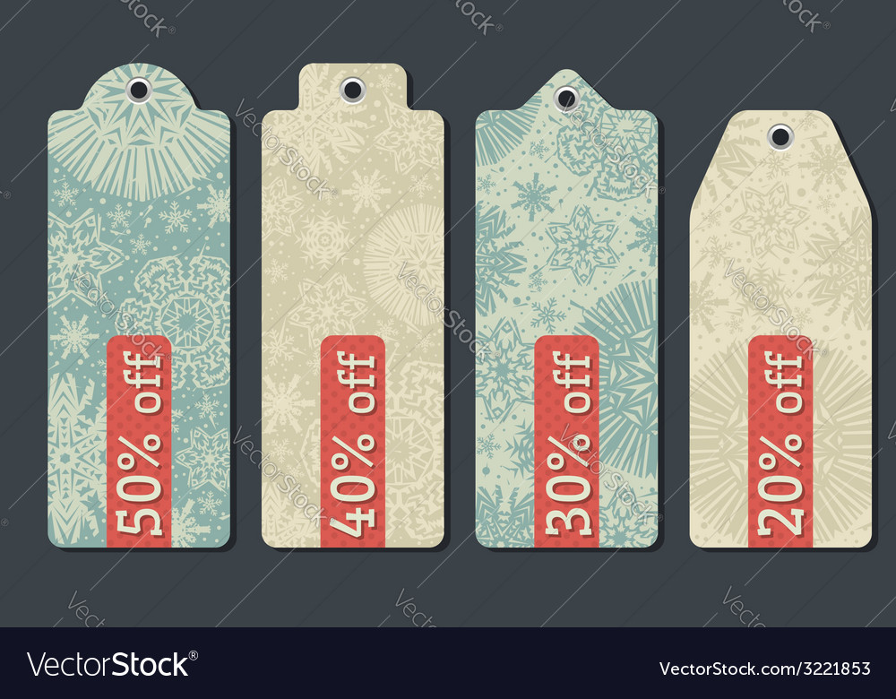 Vintage christmas labels with sale offer vector | Price: 1 Credit (USD $1)