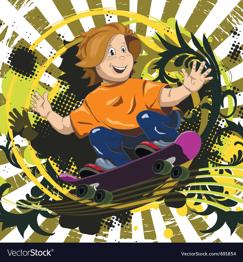 Abstract of a boy on a skateboard vector | Price: 3 Credit (USD $3)