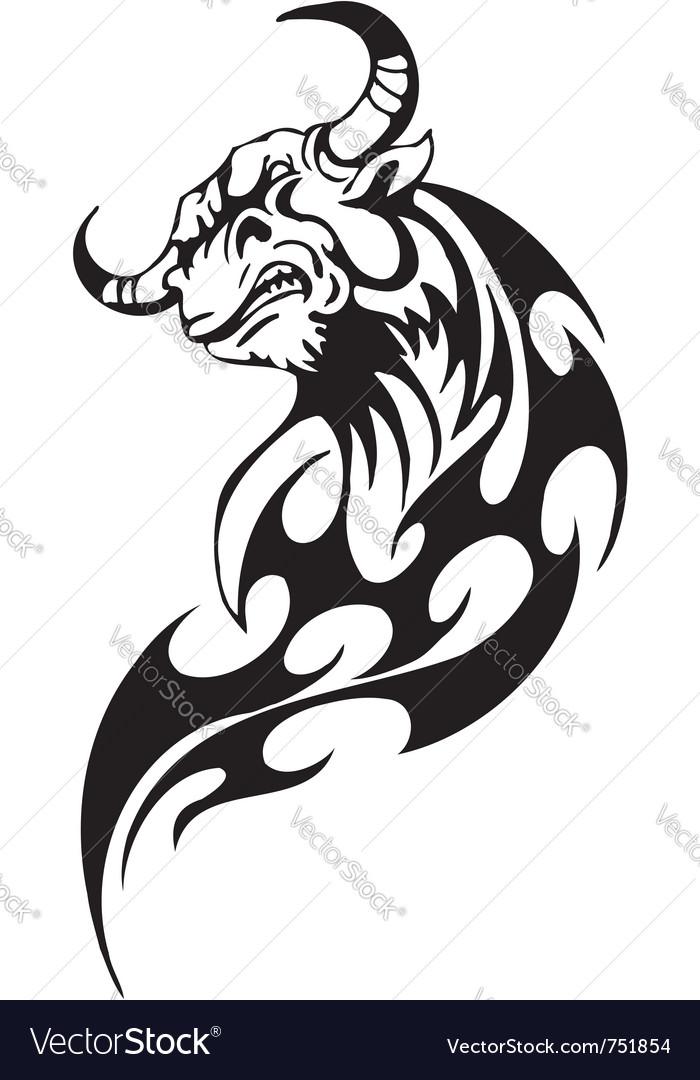 Bull in tribal style - image vector   Price: 1 Credit (USD $1)