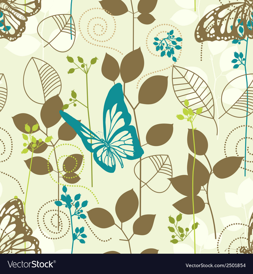 Butterflies and leaves retro seamless pattern vector | Price: 1 Credit (USD $1)