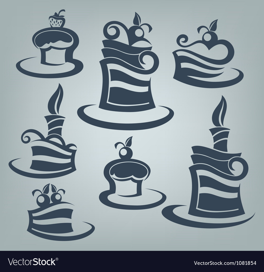 Cakes and sweets collection of delicious symbols vector | Price: 1 Credit (USD $1)