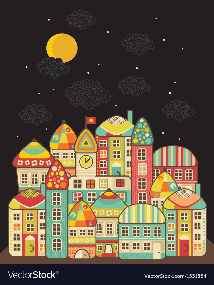 Cute night town vector | Price: 1 Credit (USD $1)