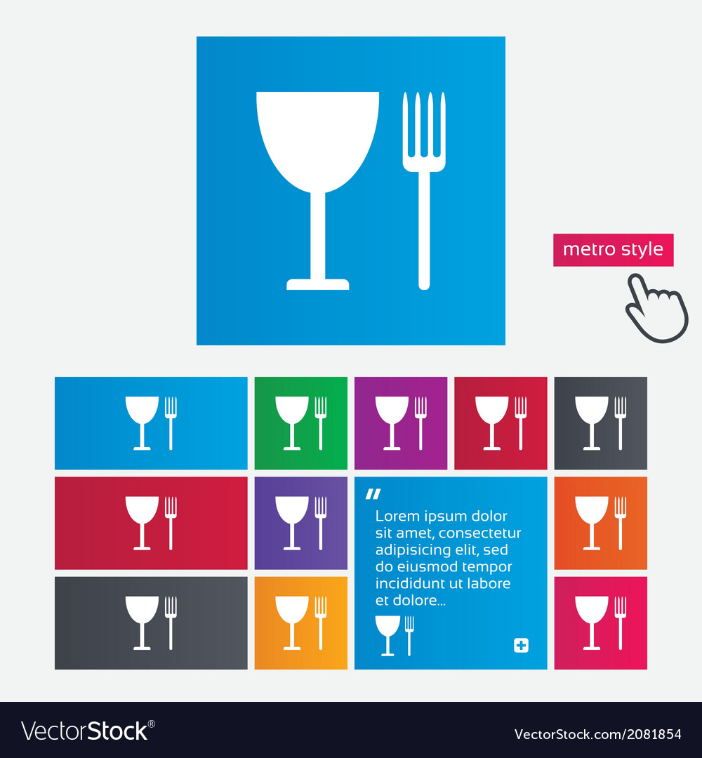 Eat sign icon cutlery symbol fork and wineglass vector   Price: 1 Credit (USD $1)