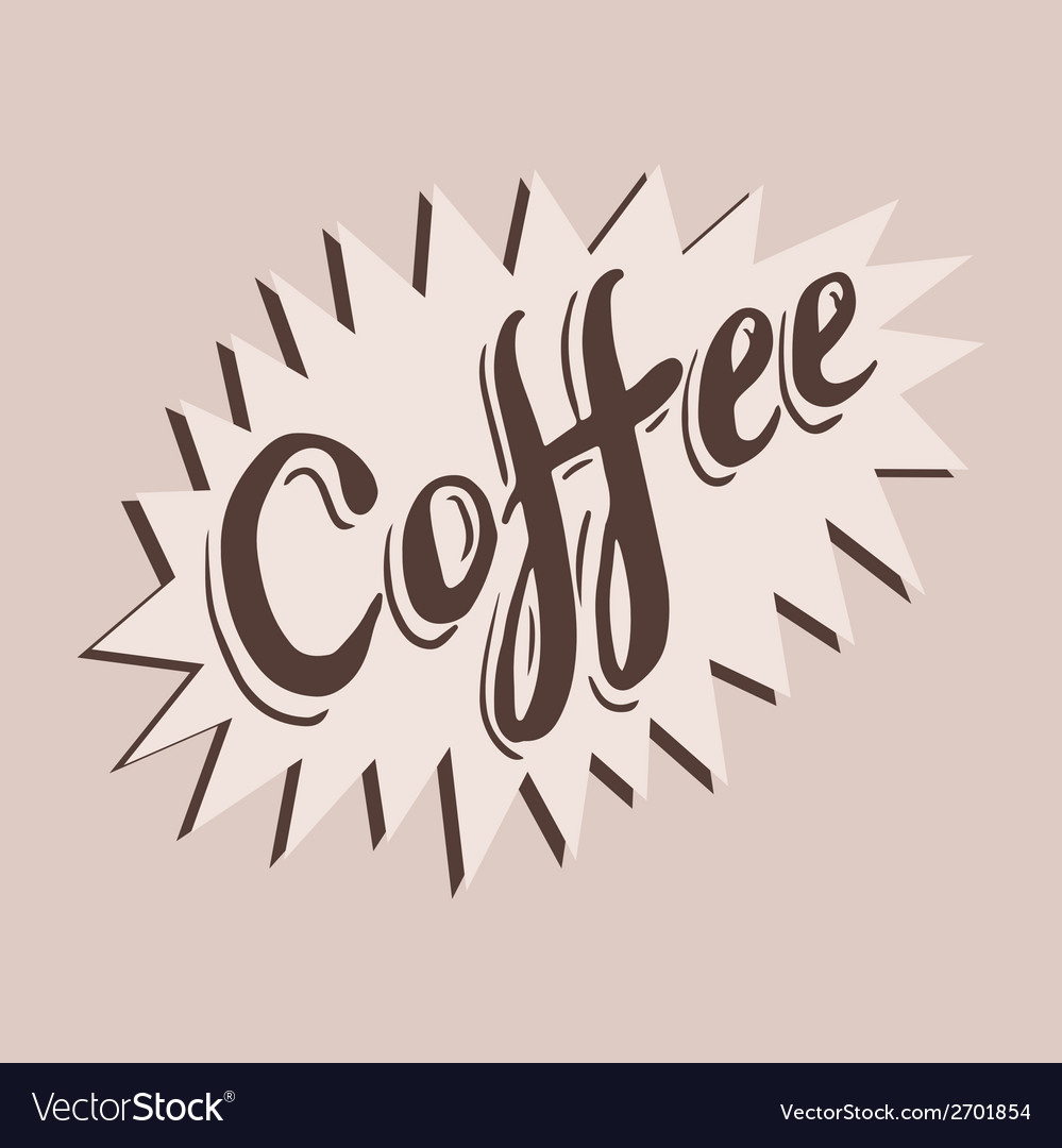 Hand drawn coffee sticker vector | Price: 1 Credit (USD $1)