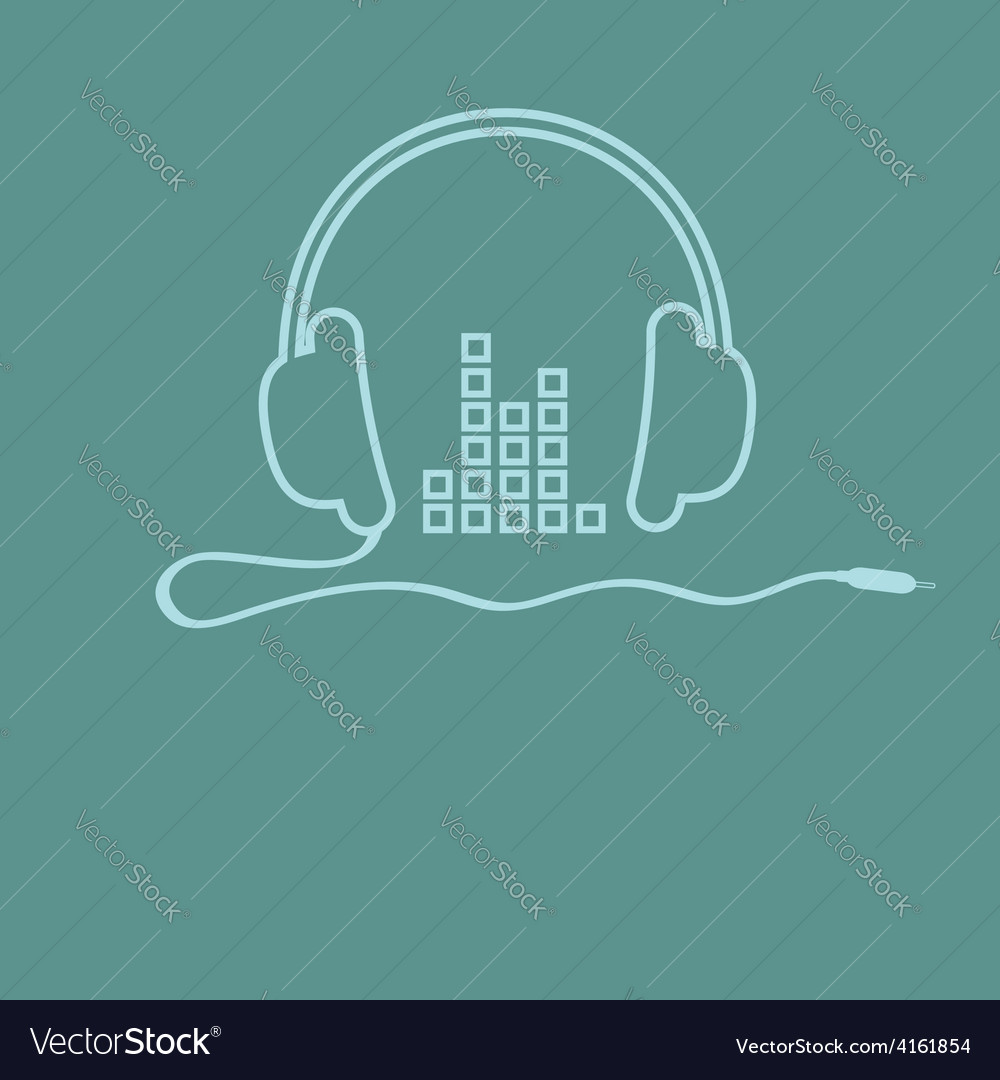 Headphones with cord and equalizer music vector | Price: 1 Credit (USD $1)