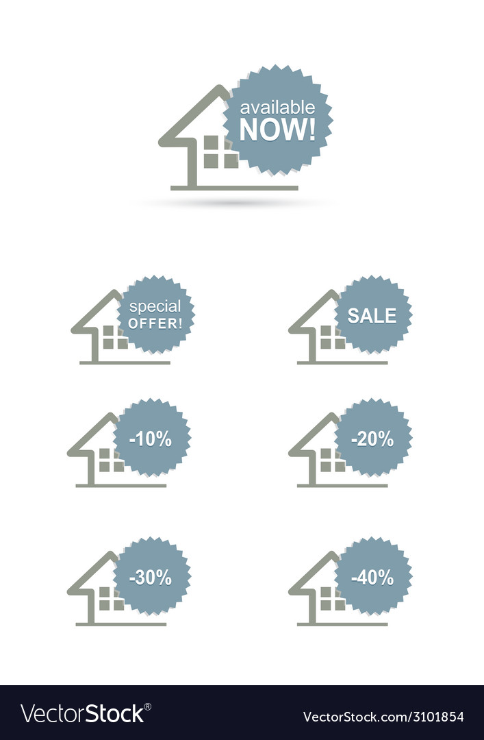 Home stickers discount set concept vector | Price: 1 Credit (USD $1)