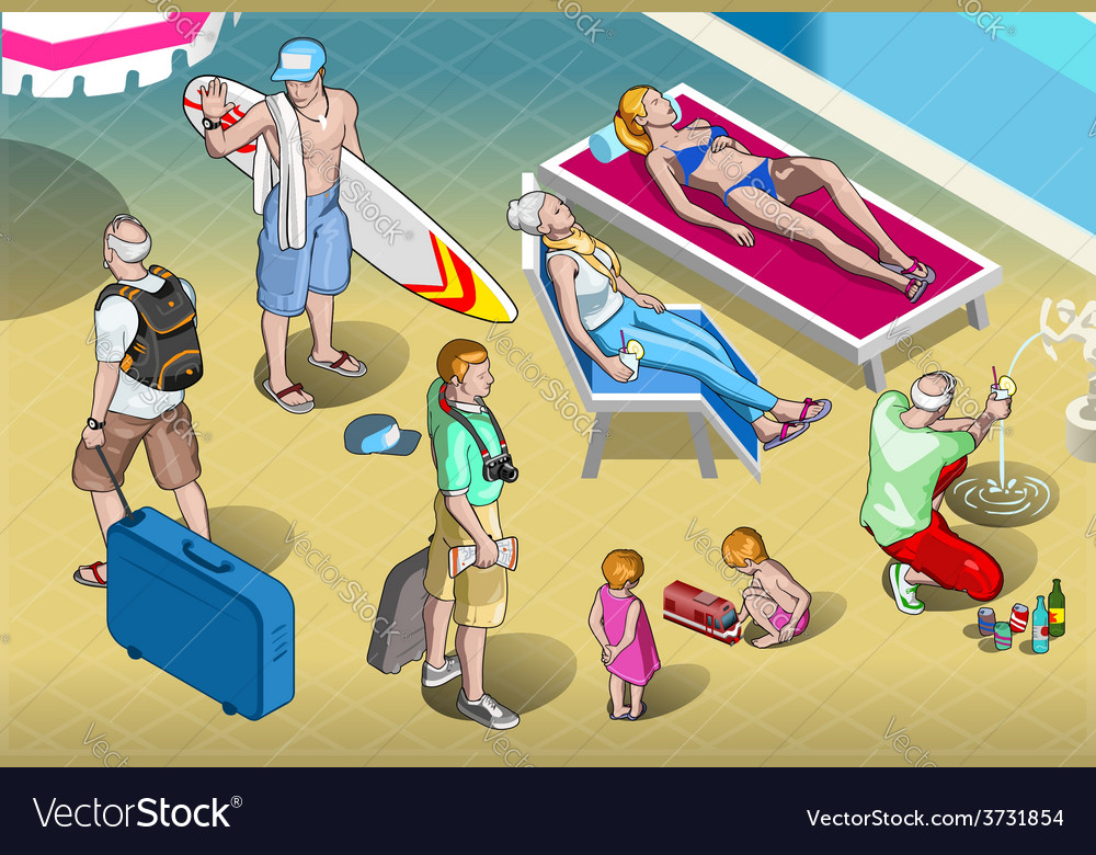 Isometric tourists peoples set at resort vector | Price: 3 Credit (USD $3)