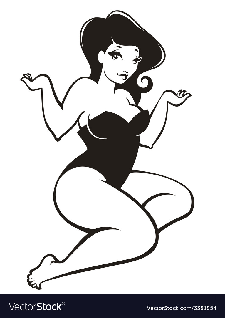 Oversize pinup girl vector | Price: 1 Credit (USD $1)