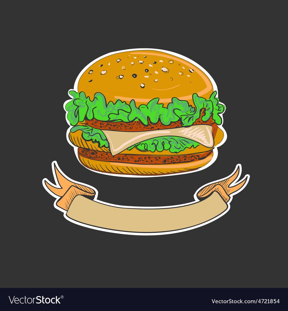 Retro burgers emblem vector | Price: 1 Credit (USD $1)