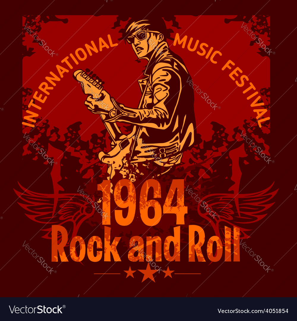 Rock and roll design - poster vector | Price: 3 Credit (USD $3)