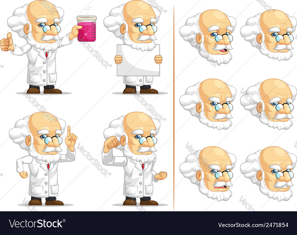 Scientist or professor customizable mascot 3 vector | Price: 1 Credit (USD $1)