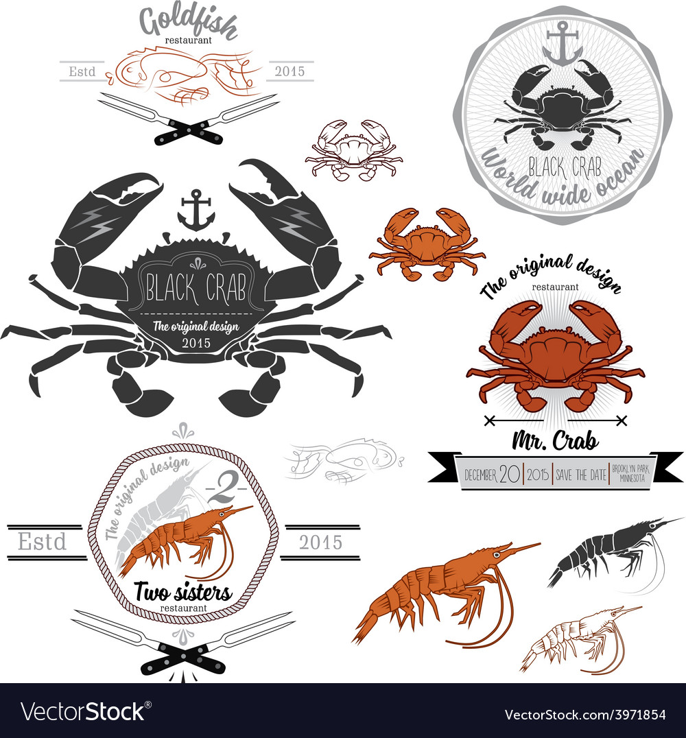 Set of vintage seafood labels and design elements vector | Price: 1 Credit (USD $1)
