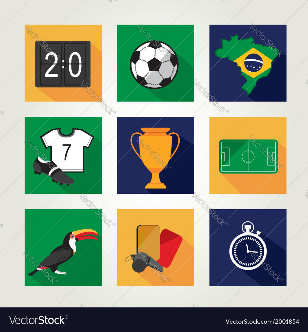 Soccer icon set brazil summer world game flat vector | Price: 1 Credit (USD $1)