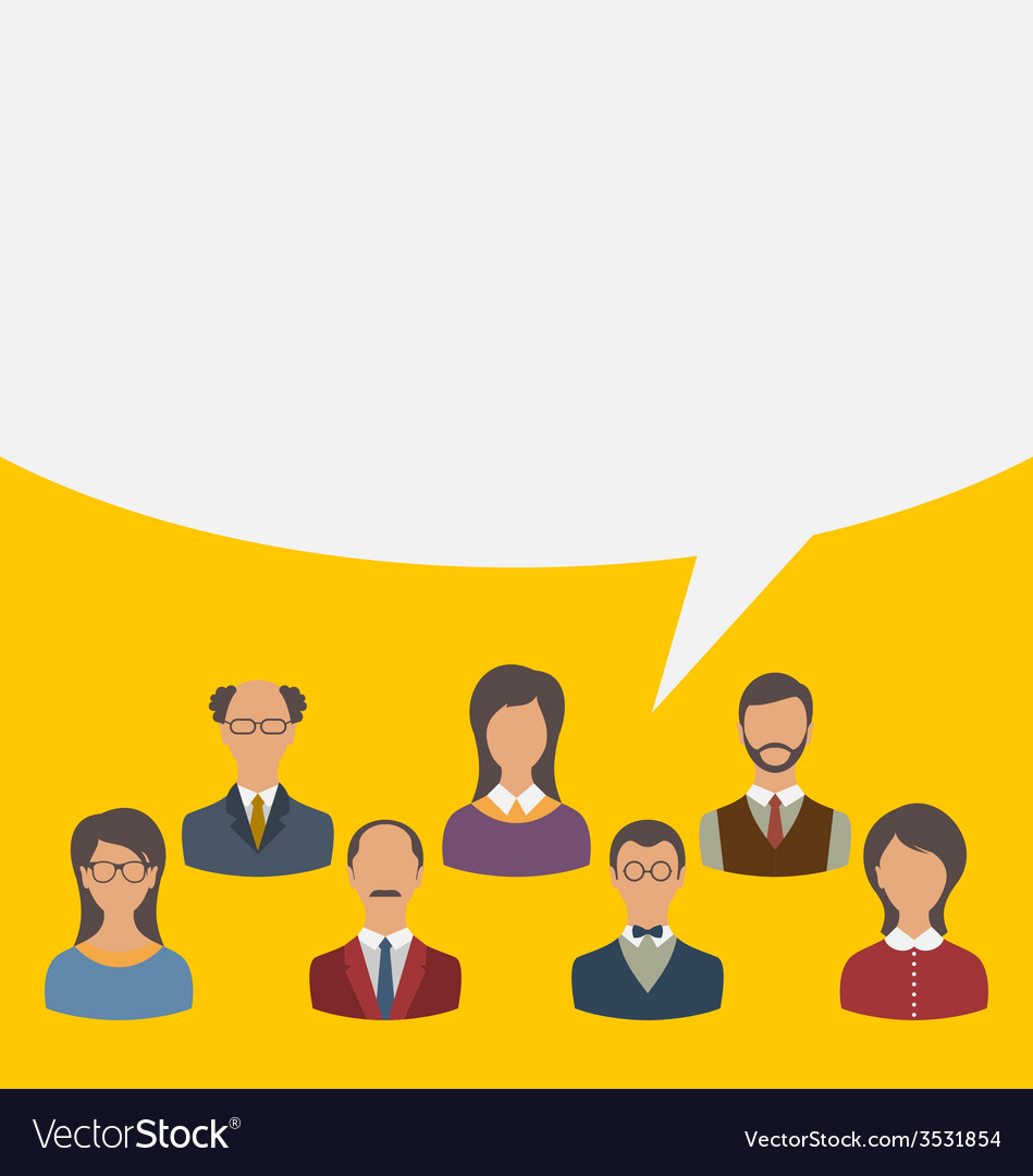 Unity of business people team with speech bubble vector | Price: 1 Credit (USD $1)