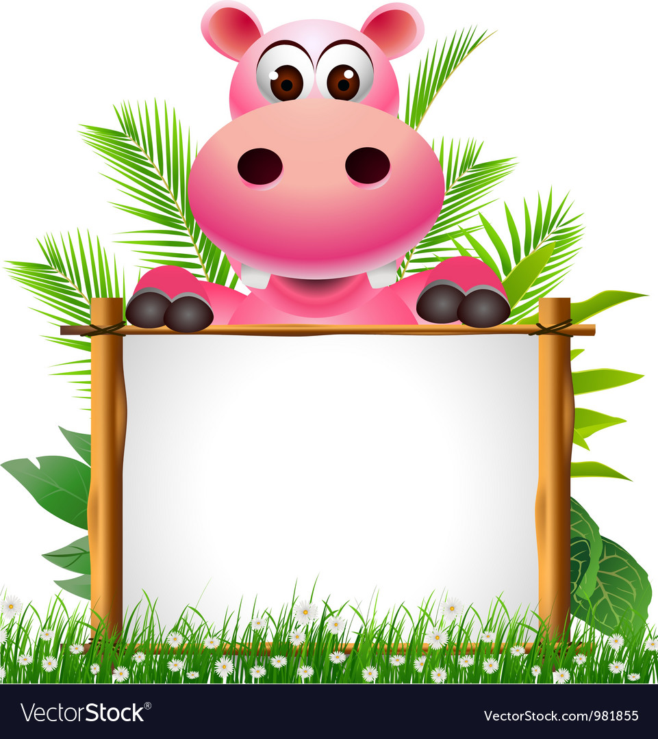 Cute hippopotamus with blank sign vector | Price: 3 Credit (USD $3)