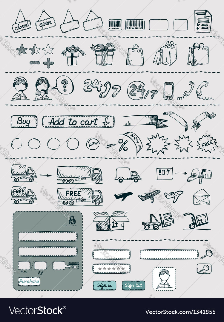 Hand drawn shopping elements set vector | Price: 3 Credit (USD $3)