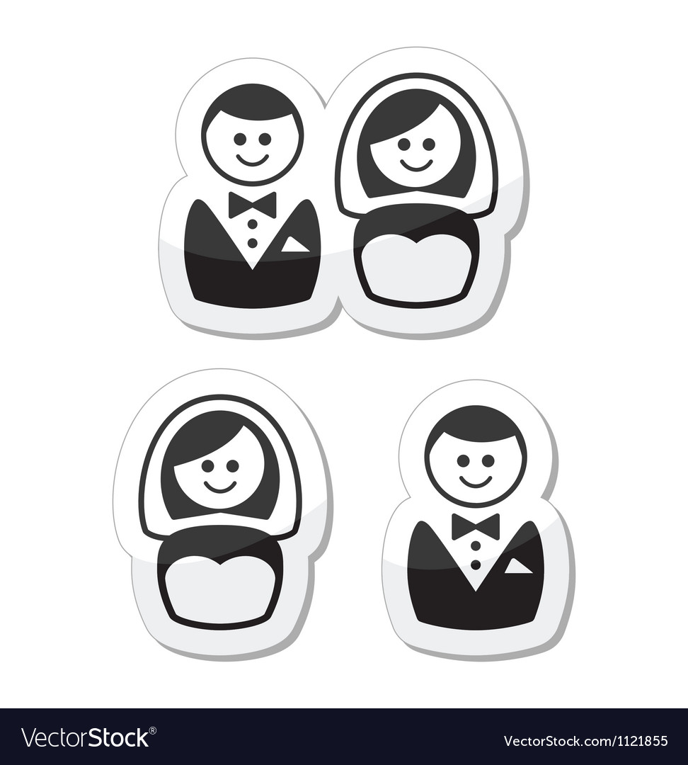 Married couple labels - groom and bride vector | Price: 1 Credit (USD $1)