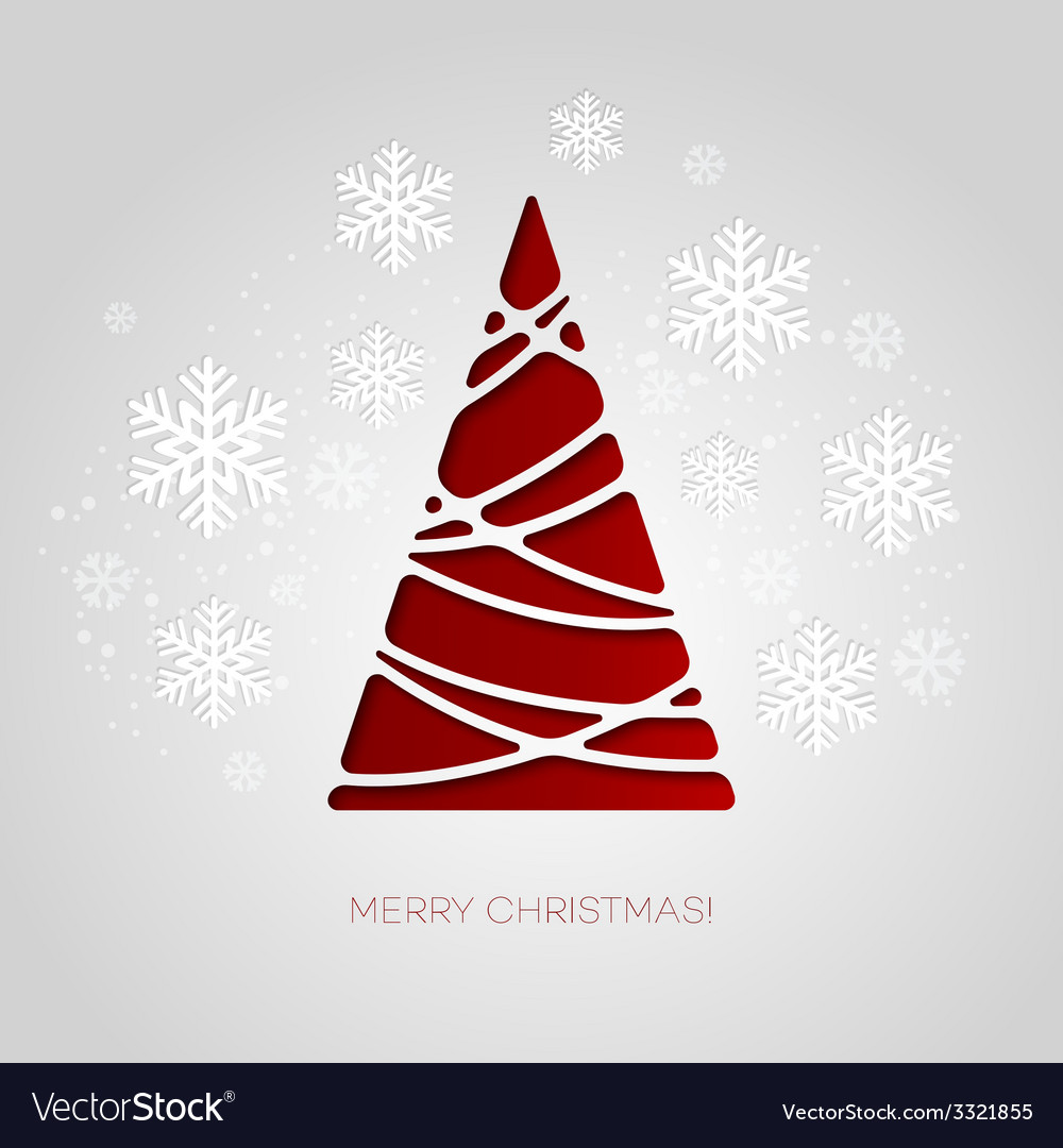 Merry christmas tree greeting card paper design vector | Price: 1 Credit (USD $1)