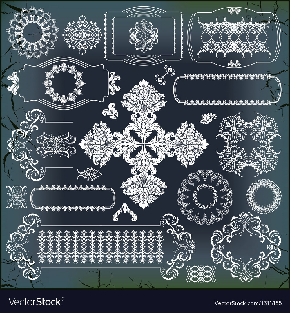Set of baroque ornaments vector | Price: 1 Credit (USD $1)