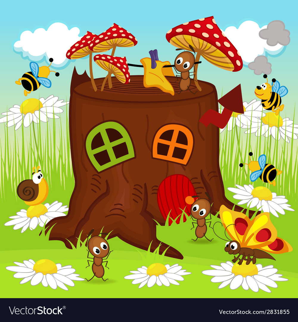 Stump house insects vector | Price: 1 Credit (USD $1)