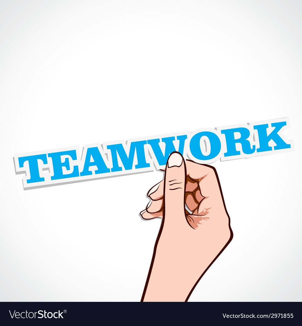 Teamwork word in hand vector   Price: 1 Credit (USD $1)