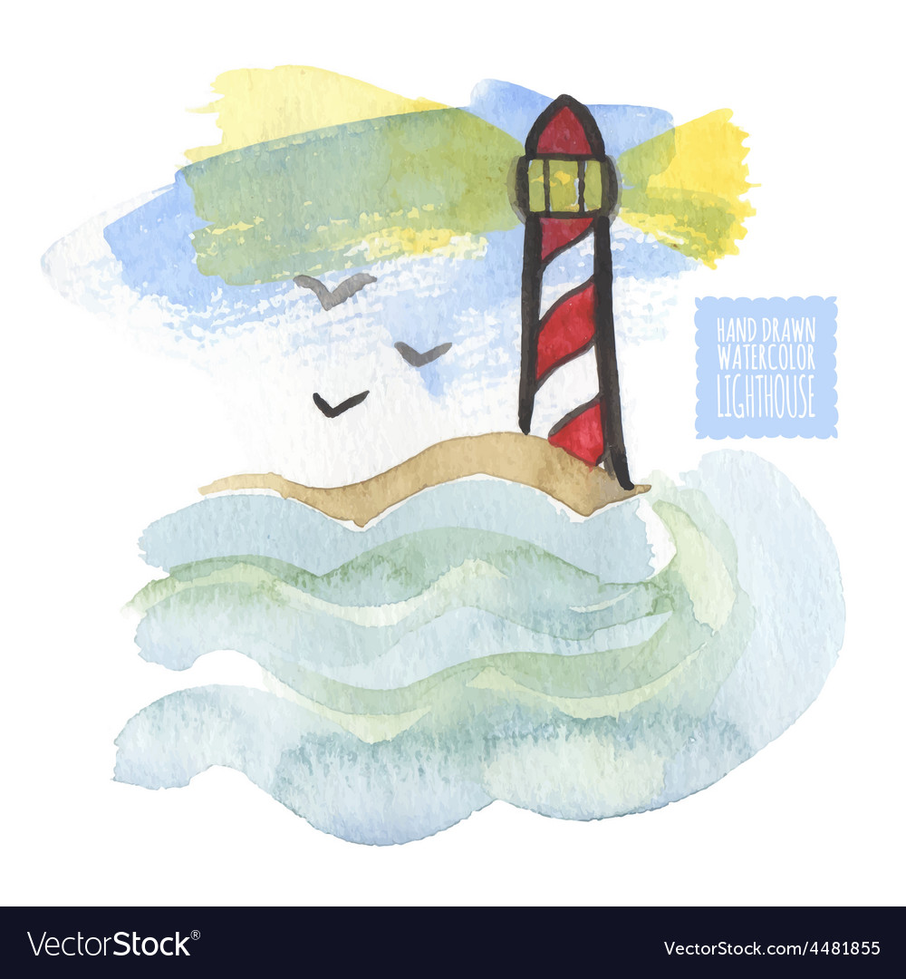 Watercolor print with lighthouse on the white vector | Price: 1 Credit (USD $1)