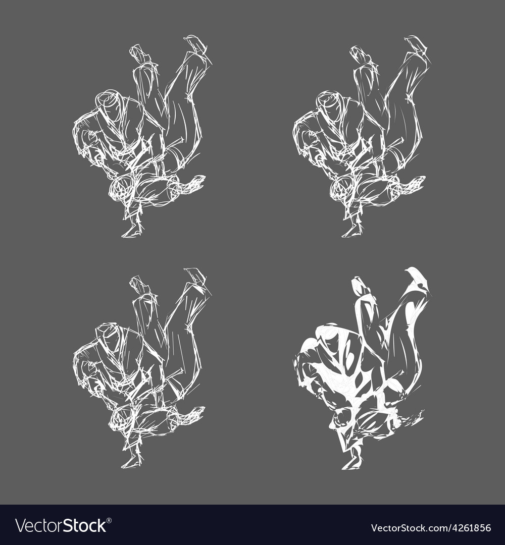 Hand drawn judo throw isolated vector | Price: 1 Credit (USD $1)