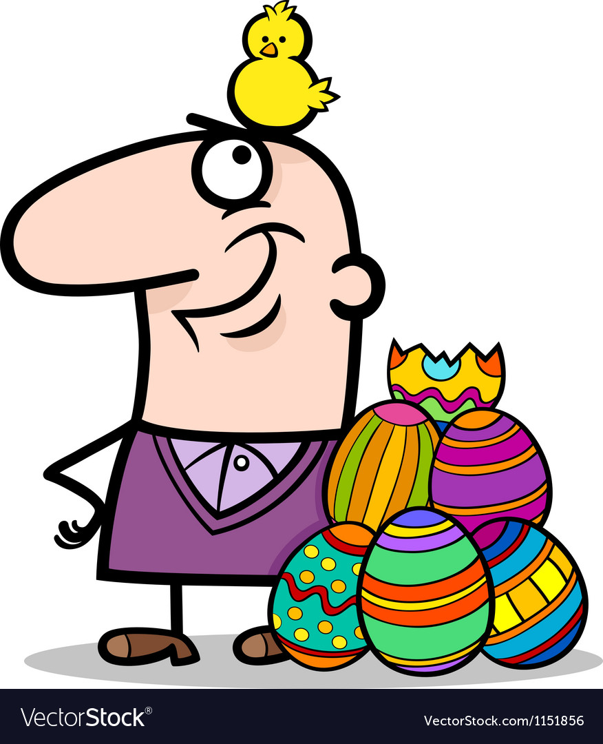 Man with easter eggs and chicken cartoon vector | Price: 1 Credit (USD $1)