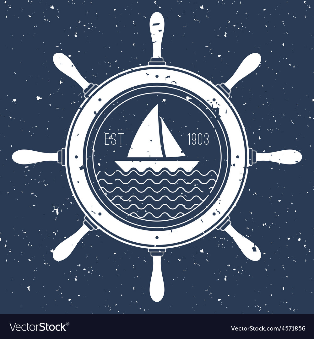 Nautical logo with a sail boat inside steering vector   Price: 1 Credit (USD $1)