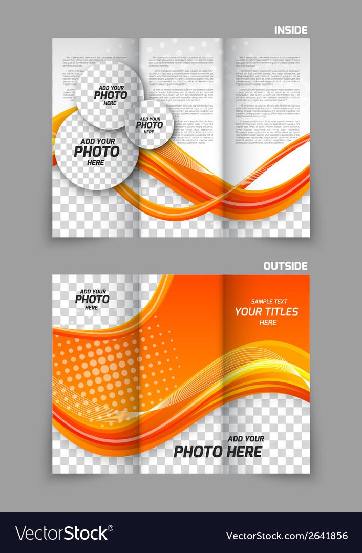 Orange tri-fold brochure vector | Price: 1 Credit (USD $1)
