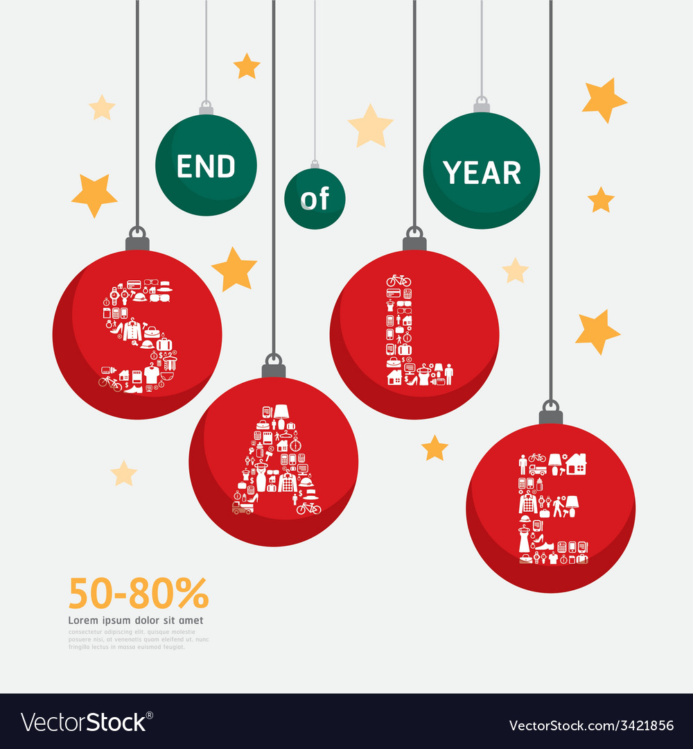 Sale discount icons styled christmas ball vector | Price: 1 Credit (USD $1)