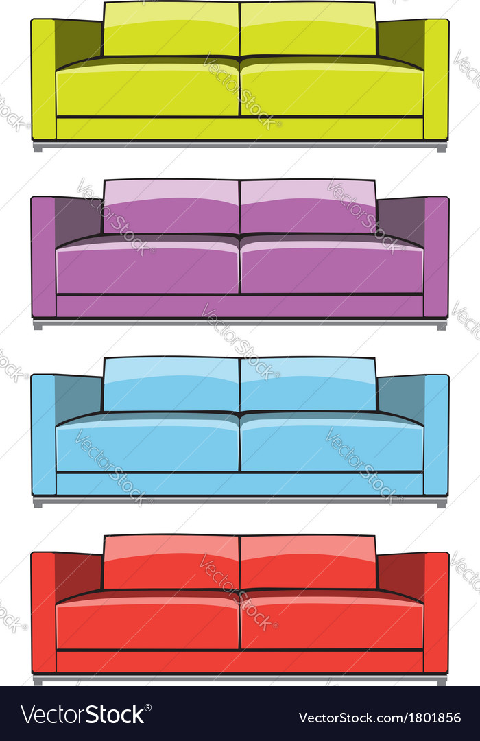 Sofa in some color variations vector | Price: 1 Credit (USD $1)