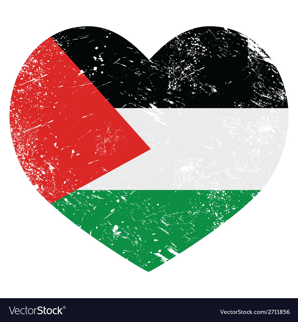 The state of palestine retro heart shaped flag vector | Price: 1 Credit (USD $1)
