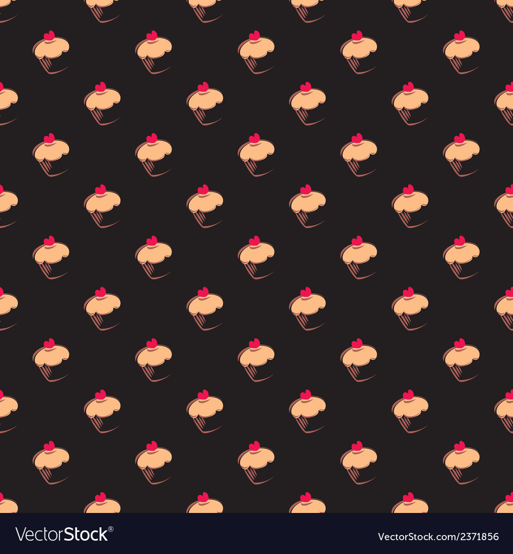 Tile pattern with cupcake on black background vector | Price: 1 Credit (USD $1)