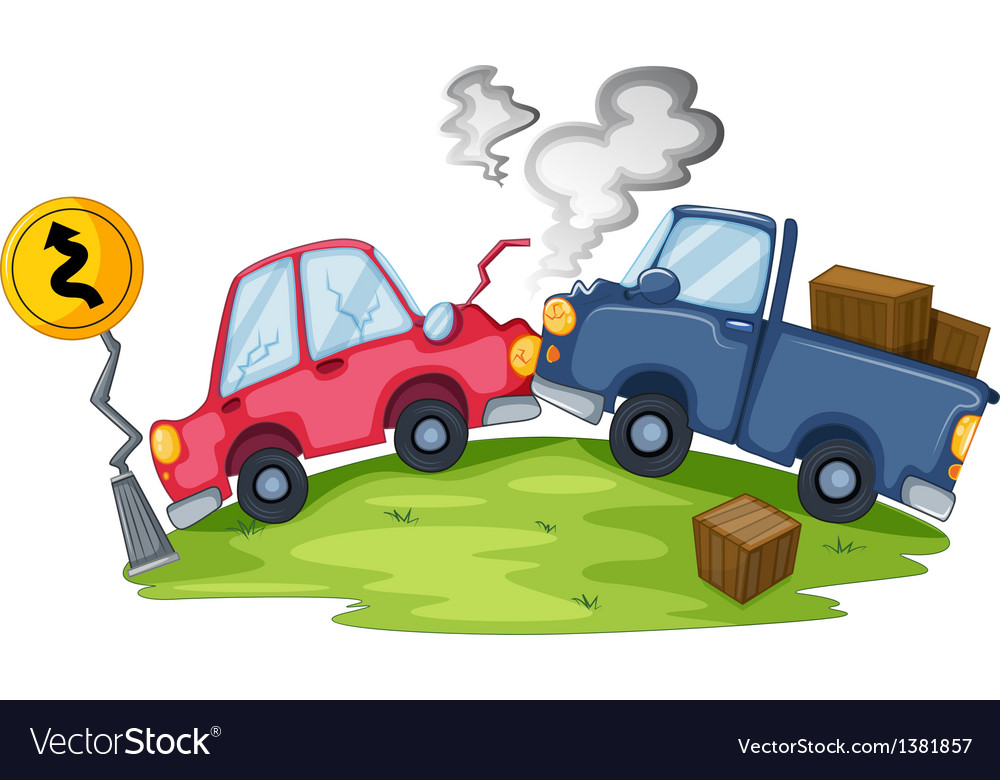 A car accident near the yellow signage vector | Price: 1 Credit (USD $1)